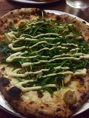 Arugula, potato, and truffle pizza at Pizza with No Name!